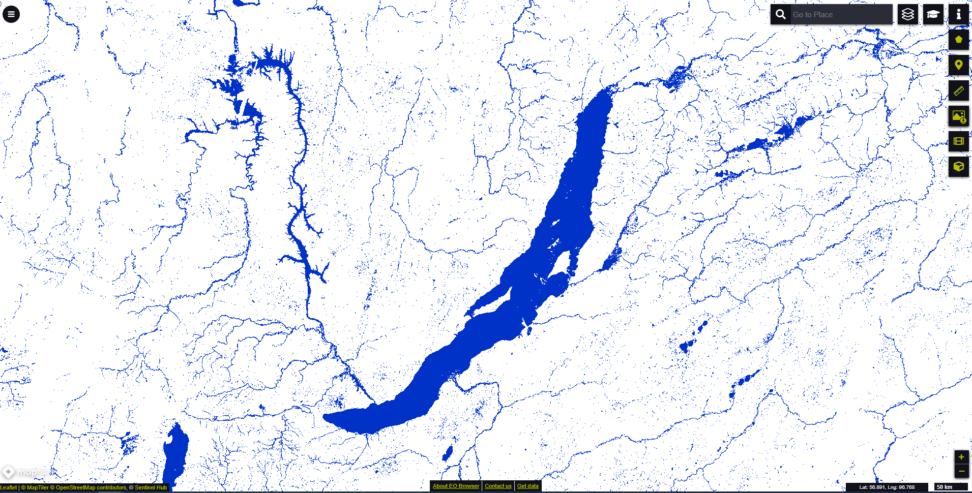 Water bodies map Baikal lake